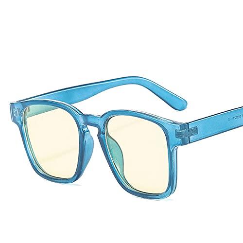 Powzz ornament Gafas de sol cuadradas Vintage para mujer, gafas de sol de lujo paramujer, gafas de sol con lente oceánica, gafas de sol Retro para Mujer, azul y amarillo