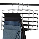 Clothes Pants Slack Hangers 5 Layers Non Slip Closet Storage Organizer Space Saving Hanger with Foam Padded Swing Arm for Pants Jeans Scarf Trousers Skirts (Updated Version-4pcs Black)