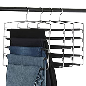 Clothes Pants Slack Hangers 5 Layers Non Slip Closet Storage Organizer Space Saving Hanger with Foam Padded Swing Arm for Pants Jeans Scarf Trousers Skirts  Updated Version-4pcs Black