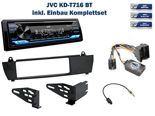 NIQ Autoradio Einbauset geeignet für BMW X3 inkl. JVC KD-T716BT & Lenkrad Fernbedienung Adapter in Schwarz
