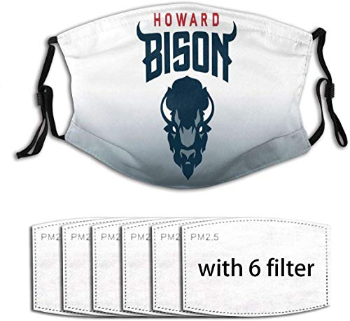 UUUK Howard Bison - Protector bucal, bandana al aire libre, bufanda a prueba de polvo, pasamontañas, manguito para cuello con 6 filtros, talla única