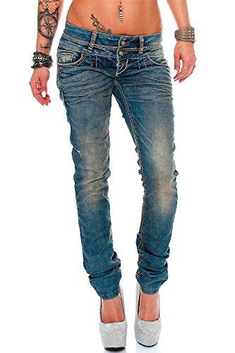 Cipo & Baxx Sexy Damen Jeans Hose Hüftjeans Skinny Slim Fit Stretch Röhre Design, Blau1, 27W / 30L
