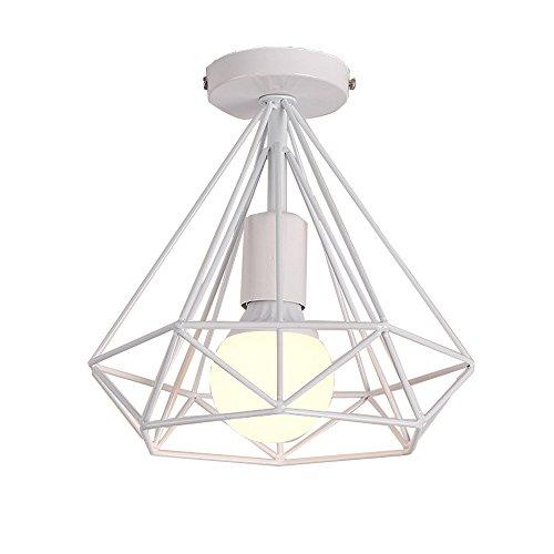 Simple Lámpara de Techo Industrial Retro Ø25cm en Forma de Diamante Vintage Metal Jaula Lámpara Colgante para Comedor, Bar, Dormitorio (Blanco)
