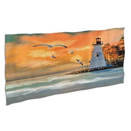 NANITHG Telo Mare Grande in Microfibra Anti-sabbia ,Pittura a olio artistica dipinta a mano,sole arancione al tramonto,faro,mare,gabbiani,isola delle vacanze,Teli Asciugamano da Spiaggia 37x74in