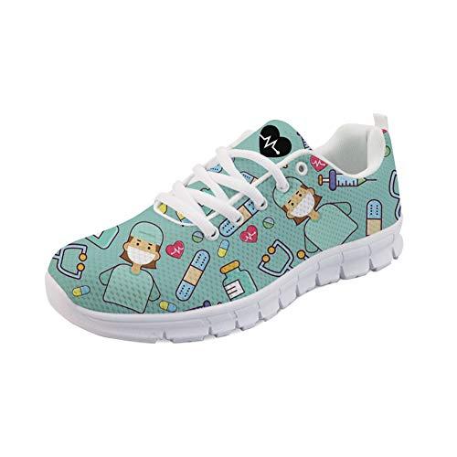 POLERO Zapatillas de Deporte para Mujer Zapatos Deportivos Zapatos con Cordones para Mujer Zapatos para Caminar livianos Zapatos de Tenis Zapatos para Correr de Malla para Mujer 38 EU