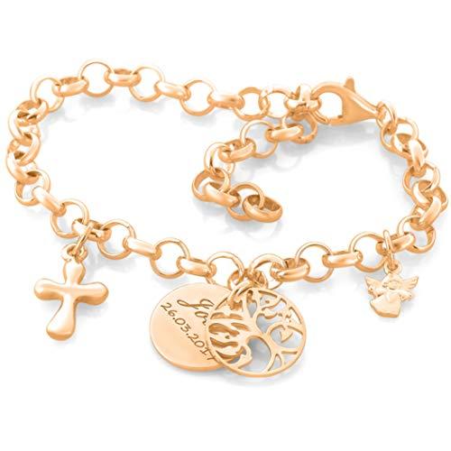 Taufarmband rosegold Lebensbaum Engel Kreuz ❤️ Namensschmuck zur Taufe ❤️ Taufgeschenke Mädchen mit Schutzengel ❤️ 925 Silber Armband mit Namen | HANDMADE IN GERMANY