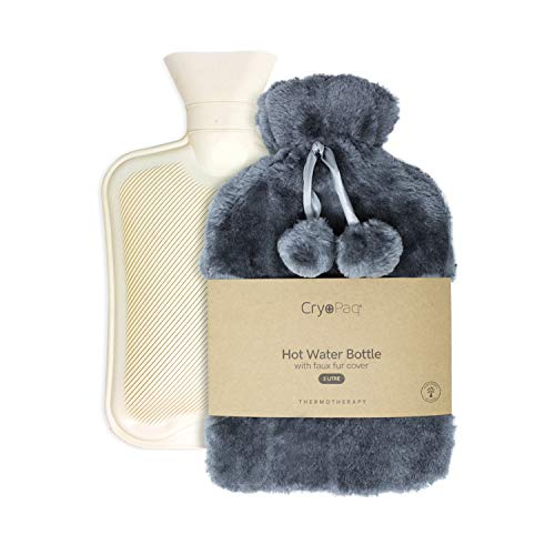 Large Luxury Hot Water Bottle with Faux Fur Cover 2L, Cosy Bed Warmer & Soft Bag Cover by Cryopaq - Dark Grey