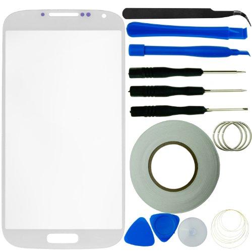 Samsung Galaxy S4 Display Ersatz-Set bestehend aus 1x Austausch Display-Glas für Samsung Galaxy S4 i9500 / 1x Pinzette / 1x Rolle Klebeband 2 mm / 1x Werkzeugsatz/Mikrofaser Reinigungstuch