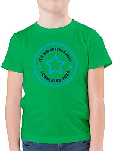 Einschulung und Schulanfang - Schulkind 2020 Ich Bin erstklassig Stern blau - 128 (7/8 Jahre) - Grün - Schulkind 2019 Junge - F130K - Kinder Tshirts und T-Shirt für Jungen