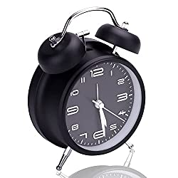 Analog Alarm Clock, 3D Number Dial Twin Bell Alarm Clock with Night Light, Loud Alarm Clock for Heavy Sleepers, Silent Non Ticking Battery Alarm Clock for Bedroom,Bedside, Desk (Black)