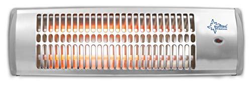 SUNTEC Quarz-Heizstrahler Wickeltisch für Baby | Heat Ray 1500 Wärmestrahler für Terrasse | Outdoor Wandmontage Terrassenheizer für Balkon max. 1200 Watt Quarzstrahler Spritzwasser-Schutz