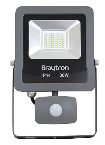 Braytron Led-schijnwerper, schijnwerper, 30 W, 2400 lumen met sensor, IP44, voor binnen- en buitenverlichting, 6500 K, koudwit