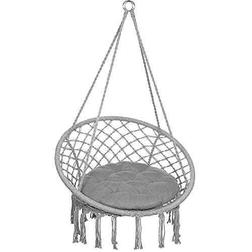 SPRINGOS Hamaca con cojín, columpio colgante en diseño de macramé, para interior y exterior (gris)