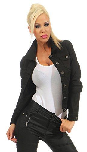 Fashion4Young 5197 Damen Jeansjacke Damenjacke Jeans Jacke Kurze Jacke Baumwolle Stretch-Denim (schwarz, M-38)