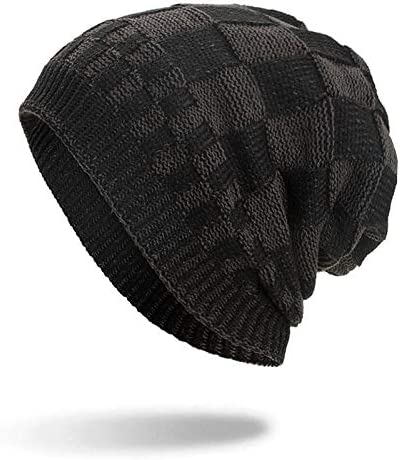 AZHAO Men Women Winter Warm Coral Fleece Thicken Beanie Caps Outdoor Double Layers Knitted Hat (Color : Color Black, Size : One Size)