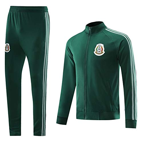 Znesd México Fútbol Club Jersey Traje de Competencia, Transpirable seco rápido Manga Larga fútbol Jersey y Pantalones Equipo Ropa Deportiva Fitness (Color : Green, Size : XL)