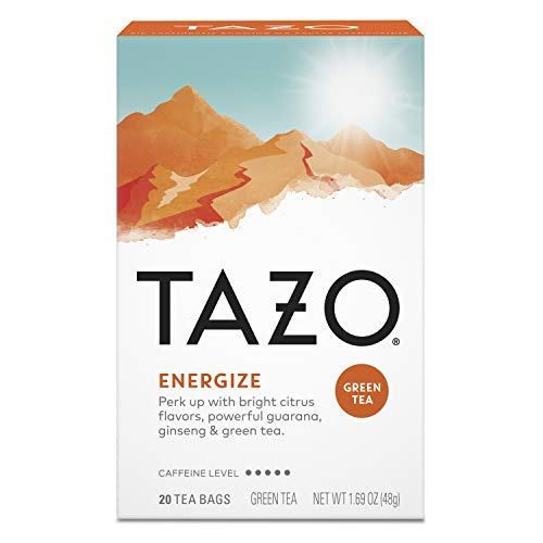 Tazo Green Tea Bags Energizing Hot Tea Energize High Caffeine 1.41 oz 20 Tea Bags, Pack of 6