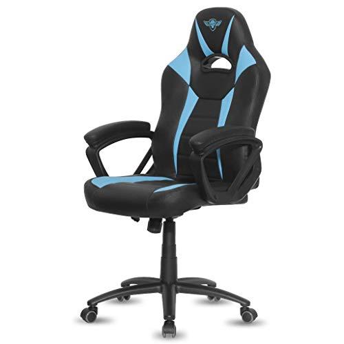 Spirit Of Gamer - Siège Fighter Series Gamer Design – Fauteuil Gaming Similicuir Bleu pour Bureau -Dossier Ergonomique - Accoudoirs Confortables Intégrés à la Chaise - Assise Réglable en Hauteur