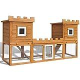 vidaXL Conejera Grande de Exterior Jaula de Mascota Casa Doble