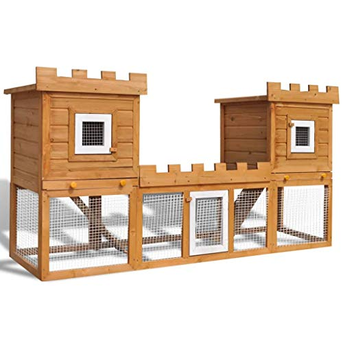 vidaXL Outdoor Large Rabbit Hutch House Pet Cage Double Garden Habitat Carrier