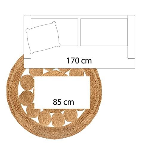 HOGAR Y MAS Alfombra Yute para Salón o Dormitorio, Moqueta 100% Naturales Redondas. Decoración Tapiz étnica 80 cm