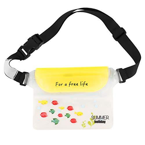 Les-Theresa Bolsa Impermeable Cintura Bolsa Seca Estuche para teléfono Bolsas de natación a la Deriva con Correa para la Cintura(Amarillo Claro)