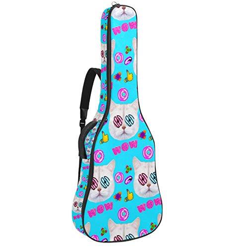 Face Cat Donut Lover Guitar Bag 40 41 42 pulgadas 2 bolsillos funda para guitarra impermeable Oxford paño 0.4 pulgadas esponja extra gruesa demasiado acolchada para guitarra acústica clásica