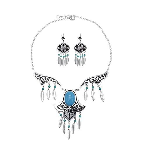 xiangwang Conjuntos de joyería vintage para mujer, bohemio, oxidado, color plateado, metal, piedra azul, festival, collar y pendientes tribales turcos (color metálico: conjuntos de joyería)