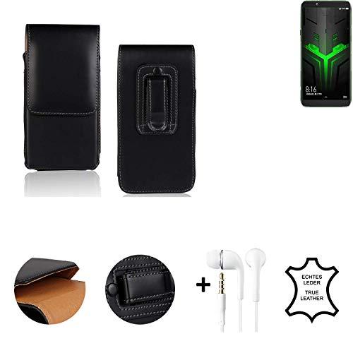 K-S-Trade® Leder Gürtel Tasche + Kopfhörer Für Xiaomi Blackshark Helo Seitentasche Belt Pouch Holster Handy-Hülle Gürteltasche Schutz-Hülle Etui Schwarz 1x