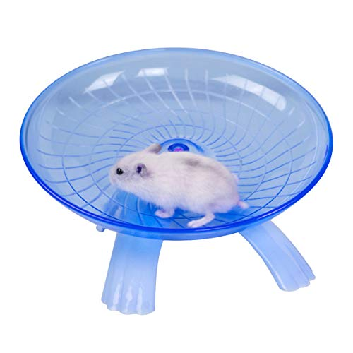 Wontee - Plato Volador para hámster, Rueda de Ejercicio silenciosa, para Ratas gerbiles, Chinchillas, cobayas, Ardilla y Animales pequeños