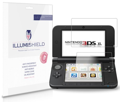 iLLumiShield Screen Protector Compatible with Nintendo 3DS XL (3-Pack) Clear HD Shield Anti-Bubble and Anti-Fingerprint PET Film