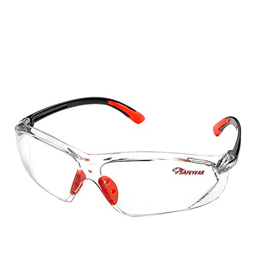 SAFEYEAR Gafas Trabajo Protección Ciclismo Hombre Con Lentes Antivaho y Transparente - Gafas Protectoras Seguridad Para Trabajo SG003 Color Negro y Naranja Laboral Soldadura
