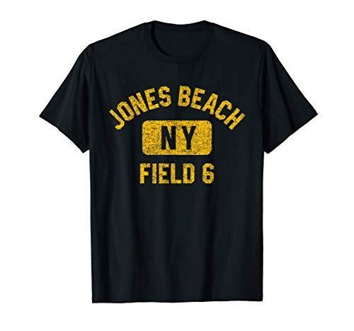 Jones Beach Field 6 NY Gym Style Distressed Amber Print T-Shirt