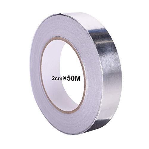 QitinDasen 50M X 20mm Premium Aluminiumfolienband, Aluminiumklebebänder Selbstklebend, Aluminiumband Aluminium Klebeband, für HVAC-Reparatur, Kanäle, Isolierung, Trockner und Handwerk