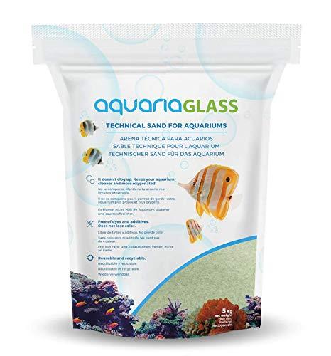 AquariaGlass Amazonia Arena Técnica Fina para Acuarios y Peceras, Evita la Compactación y Aumenta la Higiene, Limpieza y Durabilidad del Agua de Acuario Color Verde - Saco de 5kg