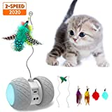 MalsiPree Robotic Interactive Cat Toy, Automatic Feather/Ball Teaser Toys for Kitten/Cats, USB Rechargeable Electronic Kitty Toy, Large Capacity Battery, All Floors/Carpet Available, 4 Bonus Feathers