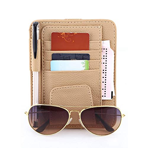 aqxreight - Organizador de visera, organizador de visera para auto para automóvil, bolsa, bolsa, almacenamiento de tarjetas, soporte para gafas, clip(Beige)