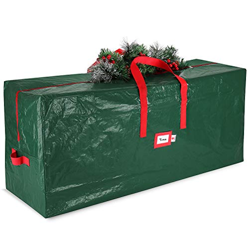 StorageMaid Christmas Waterproof Artificial Storage Bag Fits Up to 7.5 Foot Disassembled Xmas Tree Box with Reinforced Carry Handles & Heavy Duty Zipper, Green
