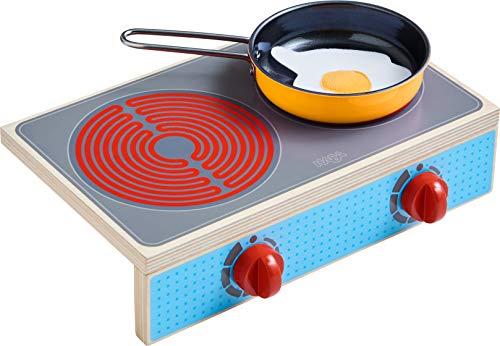 HABA 305132 - Kochstellen-Set Culina, mit 2 Herdplatten, 1 Pfanne und 1 Spiegelei, platzsparende Alternative zur Kinderküche, Herdknöpfe machen Klickgeräusche, ab 3 Jahren