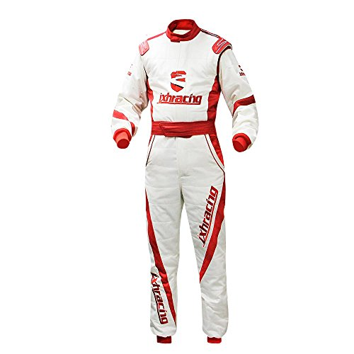 jxhracing RB-0001-Custom 3WR One-Piece Auto Racing Suit 2XL White And Red Jointing