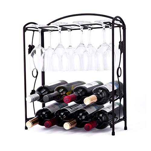 HOWDIA Tabletop Wine Glass Rack with Glass Holder,Foldbale Metal Wine Holder for 4 or 8 Bottles and 8 Wine Glasses,Perfect for Home Decor & Kitchen Storage, Bar, Wine Cellar, Cabinet (Bronze)