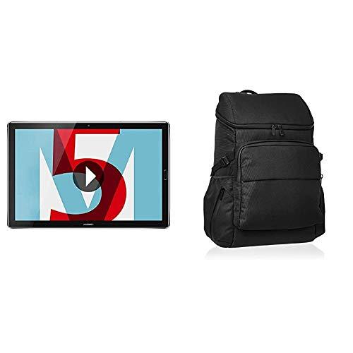 Huawei MediaPad M5 LTE - Tablet de 10.8' (WWAN, WiFi, LTE y Bluetooth, 32 GB ROM + Amazon Basics - Mochila de Calle para portátiles de hasta 38 cm, Negro