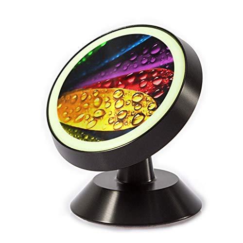 VEELFF Soporte magnético para teléfono de coche, con oxidación de aleación de aluminio + anillo de silicona luminoso, patrón de pétalos de flores de rocío.
