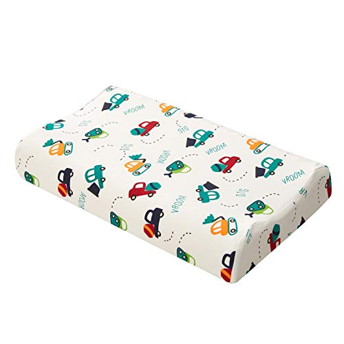 Sheltin Toddler Pillow, Organic Cotton Cover, Breathable Kids Natural Memory Latex Pillow 17X10X2.3 inch for Boys Girls 2-10 Years Old Children
