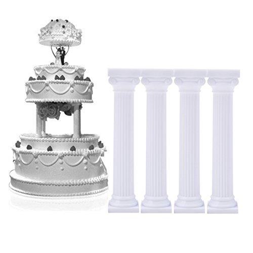 ODN 4 Stück Römische Säule Kunststoff Cupcake Ständer Cookies Tray Säulen Ständer Valentinstag Hochzeit Geburtstag Dekoration Werkzeug (Länge 12,5 cm)