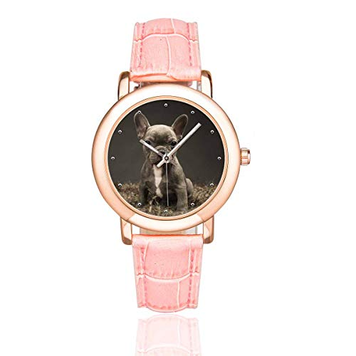 InterestPrint Baby French Bulldog Cute Puppy Women's Rose Gold-plated Wrist Watches with Pink Leather Band