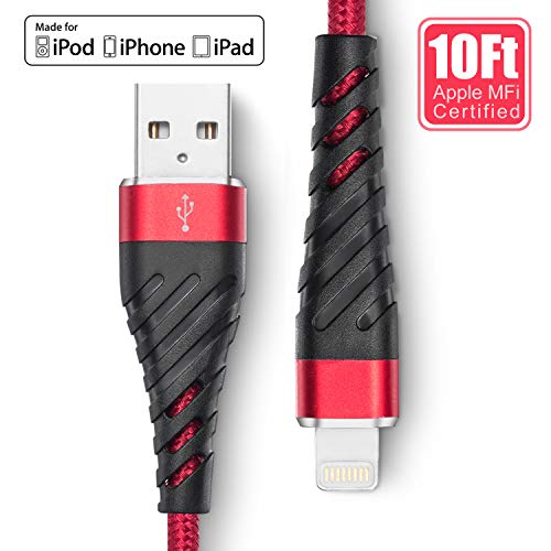 iPhone Charger 10 ft, [ MFi-Certified] Lightning Cable 10 Foot,Long Durable Braided 10 feet Nylon Metal Connector Charger Cord Compatible with iPhone 11/11Pro/11Max/ X/XS/XR/XS Max/8/7/6/5S/SE