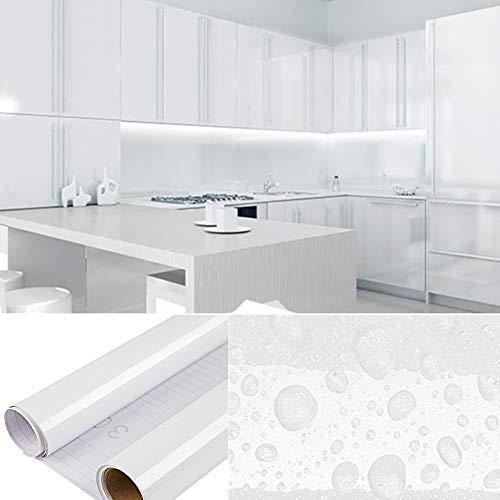 DTC (2 Stück) 5M x 0,41M PVC Selbstklebend Tapete Küchen Aufkleber, Freier Schaber, Wasserfest Schrank Fensterbank folie Tapeten Vinyl für Wände Wand Türen Möbel Deko, Insgesamt 1000cm x 40cm Weiß