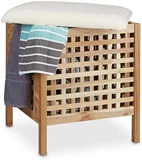 Relaxdays - Mueble/contenedor, puf para el baño, de Madera
