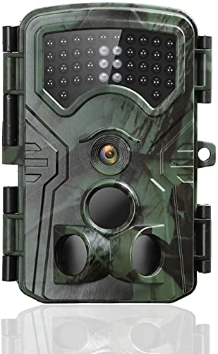 Wildlife Camera Photo Trap, 16MP 1080P FHD Hunting Trail Cameras Infrared Night Vision 120°Wide Angle Detection Motion Camera IP54 Waterproof Wildlife Camera 0.2S Trigger Speed Outdoor Camera
